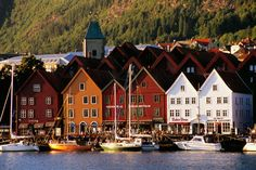 "Bergen, Norway  •  ""the most beautiful city in Norway""  Vagen Harbour with Bryggen waterfront in distance."