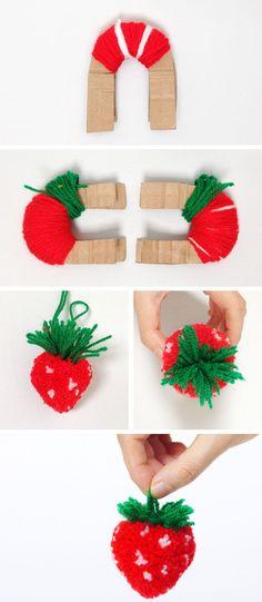 Cómo hacer un pompón con forma de fresa