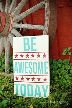 Be Awesome Today, typography word art, playroom art, wall art, boys wall art, boys nursery art on Etsy, $35.00