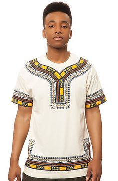 The Dashiki Tee in Natural by 10 Deep African Inspired Fashion, African Men Fashion, Streetwear Mode, Streetwear Fashion, African Attire, African Wear, African Shirts, King Fashion, Mens Fashion Wear
