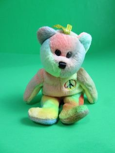 TY Beanie Baby Peace Bear 2001 Tie Dyed Sherbet Colors 2001 Ornament 5