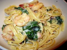 Creamy Shrimp and Bacon Alfredo with spinach recipe and tutorial.