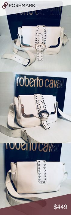 Roberto Cavali Handbag This beautiful lambskin white leather bag by Roberto Cavali will always be your favorite one! Gorgeous red leather inside will never get boring. It is just perfect for any occasion. You can hide the stripe inside and it will look like a clutch. Roberto Cavalli Bags Crossbody Bags