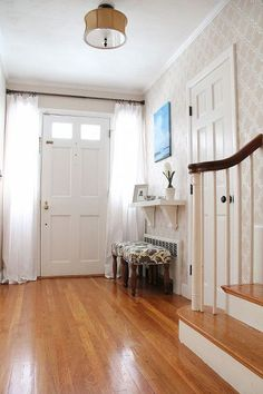 entryway before and after, design d cor, foyer, painting, I painted over with Benjamin Moore Muslin as well as a home made stencil