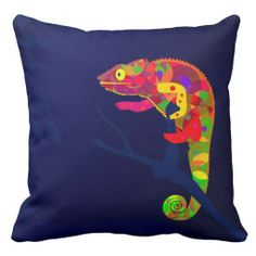 Paper Craft Chameleon Throw Pillow - Brilliantly colored, this whimsical, reluctant chameleon stands out against the deep rich background in fun abstract patterns.