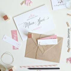 Invitación BODA Bicicletas Vintage. En tonos rosa y papel kraft, presentación con etiquetas e hilo de cáñamo. | Wedding invitations bike