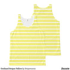 Outlined Stripes Yellow All-Over-Print Tank Top