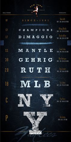New York Yankees - 20% Father's Day Promo: MLB Eye Chart - Greatest Players - Midnight Blue