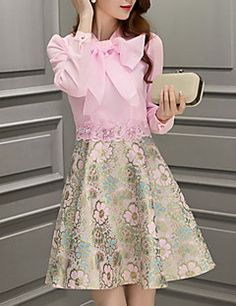 Women's Going out Sophisticated A Line Dress,Print Round Neck Above Knee Long Sleeve Pink Polyester Spring Mid Rise Micro-elastic Medium