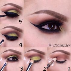 Brown and yellow cute girls #makeup #tutorial #evatornadoblog #stepbystep #mycollection
