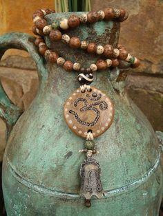 MEDITATION BELL OM necklace beige yoga jewelry bohemian gypsy hippie hand made jewelry via Etsy Yoga Meditation, Meditation Space, Yoga Mala, Buddha, Om Necklace, Necklaces, Wabi Sabi, Boho Hippie, Hippie Chick
