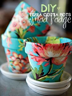 Diy terra cotta modge podge pots with wallpaper!