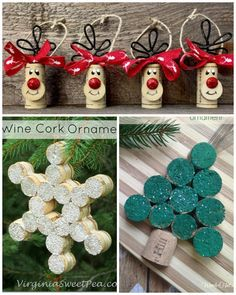 Collect the cork stoppers to make beautiful Christmas decorations! - Collect the cork stoppers to make beautiful Christmas decorations! – Crafts – Tips and Crafts - Wine Cork Projects, Wine Cork Crafts, Wine Cork Art, Bottle Crafts, Crafts With Corks, Wine Craft, Stick Crafts, Wooden Crafts, Yarn Crafts
