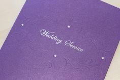 Vienna Embossed & Foiled Order of Service Cadburys Purple - Vintage Wedding Stationery Scotland - VOWS Award Nominee 2013 Purple Wedding Stationery, Modern Wedding Invitations, Wedding Invitation Design, Dot Texture, Order Of Service, Vienna, Vows, Scotland, Wedding Flowers