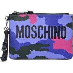 Moschino Clutch ($250) ❤ liked on Polyvore featuring bags, handbags, clutches, purple, genuine leather handbags, real leather purses, purple leather purse, purple leather handbag and genuine leather purse