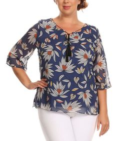 Love this Essential Collection Navy Blue Floral Tassel-Tie Three-Quarter Sleeve Top - Plus by Essential Collection on #zulily! #zulilyfinds