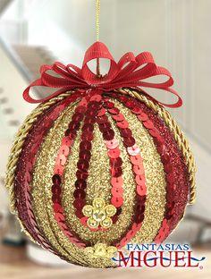 Esfera Dorada con rojo / Lentejuela  / Navidad 2014 / Adorno / Decoración