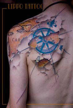 amazing map tattoo from Lippo Tatto