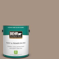 BEHR Premium Plus 1 gal. #PPU7-05 Pure Earth Zero VOC Semi-Gloss Enamel Interior Paint