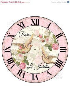 La mitad Precio de Venta Shabby Chic Reloj-DIY Hermosas estafadores reloj francesa Inspiración rosas palomas Y