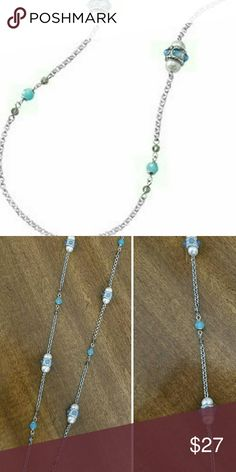 """🆕Lia Sophia """"Seascape"""" Worn once! 36-39"""". Aquamarine glass and resin beads on a silver tone chain. Pic 2 is of actual necklace you are purchasing. Lia Sophia Jewelry Necklaces"""