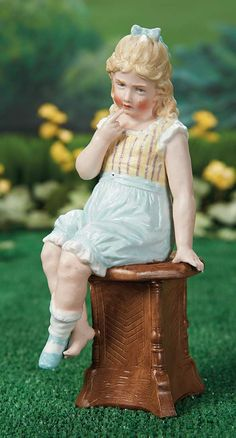 """What Frolicks Are Here: 159 Wonderful German Bisque Figurine """"Seated Crying Girl"""" by Gebruder Heubach"""