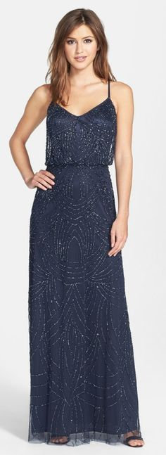 Sequin gown in midnight blue by Adrianna Papell