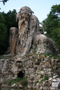 (just north of Florence, Italy), is a giant sculpture of the 16th century known as Colosso dell'Appennino or the Colossus of the Apennines. .  . The solid brick and stone structure withstood centuries in the same place, managing to keep his figurative composition in all that time. The park is located in the colossus, once built as an estate for the mistress of the Italian Duke,  Your presence shows a connection between man and nature