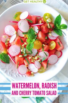 This flavorful salad combines watermelon, radishes and tomatoes for a simple yet satisfying salad. Perfect for spring and summer!