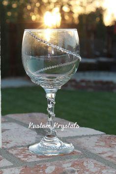 Swirl  Swarovski Crystal embellished wine glass by KustomKrystals, $14.99