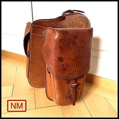 Vintage Swiss Army Saddle Bags - Connected Horse or Motorcycle Side Bags of the Swiss Military - Cavalry Leather Bags - Made in the 1930s