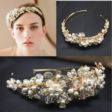 2015 de lujo Headwear accesorios Crystal piedras Pearls Handbeaded novia tocado(China (Mainland))