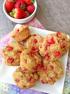 Celebrate summer with juicy whole grain muffins made with fresh summer strawberries!