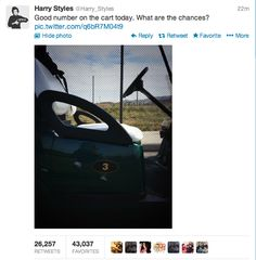Oh my gosh!!! I hope that when Harry comes to my town for the concert he golfs at the golf course my brother works!!!!!