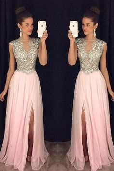 Prom Dresses Simple, A Line Round Neck Pink Chiffon Split Long Prom Dresses with Beading, A long dress makes an elegant statement at any formal event whether it is prom, a formal dance, or wedding. Bridesmaid Dresses, Prom Dresses, Wedding Dresses, Long Dresses, Casual Mode, Formal Dresses For Women, Formal Dresses For Weddings, Evening Gowns, Chiffon Evening Dresses