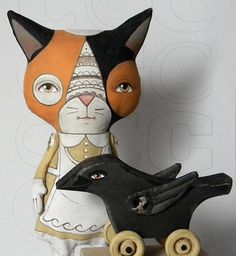 Calico Cat and Crow-- Original Contemporary Folk Art Doll Set-- Made to order $140