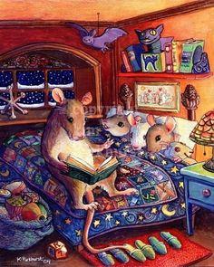Kim Parkhurst, Bedtime illustration, signed print offered at her Etsy site, Toadbriar. Art And Illustration, Illustration Mignonne, Halloween Illustration, Book Illustrations, Art Fantaisiste, Art Mignon, Cute Mouse, Bedtime Stories, Sign Printing