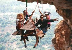 I just found the perfect picnic table for those crazy people that go cliff camping! (Cliff campers hang special tents on the side of a sheer cliff and spend the night hanging there)