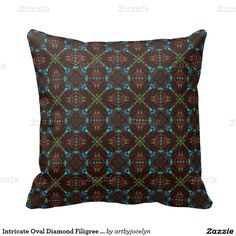 Intricate Oval Diamond Filigree Stained Glass Tile Pillow