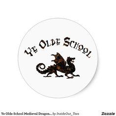 Ye Olde School Medieval Dragon Sticker