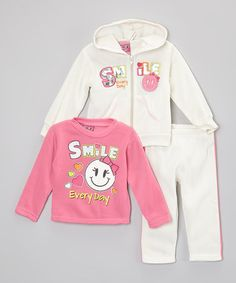 This Ivory 'Smile' Hoodie Set - Girls by Real Love is perfect! #zulilyfinds