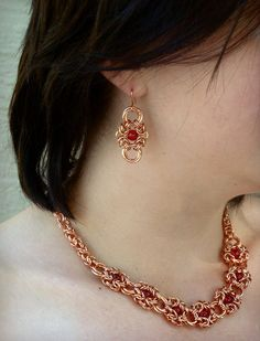 Romanov #Necklace in Copper and Red #chainmaille