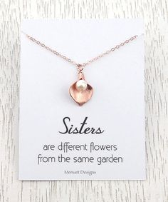 New Sisters Necklace Rose Gold Calla Lily Jewlery by MenuetDesigns