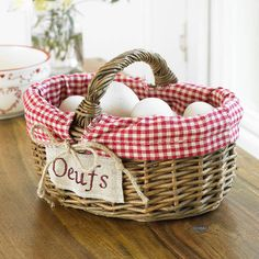 Oeufs Basket - French country inspiration this spring! Egg Storage, Storage Baskets, Egg Basket, Easter Baskets, White Cottage, Cottage Style, French Eggs, Down On The Farm, Red Gingham