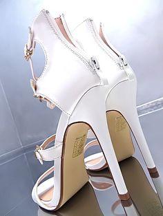 NEU 2017 HOHE Damen Elegant Riemchen Sandalen Pumps Schuhe O84 High Heels White