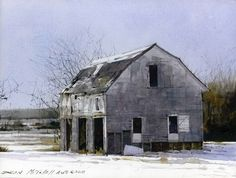 Rural Winter, watercolor by Dean Mitchell Watercolor Barns, Watercolor Architecture, Watercolor Landscape, Landscape Paintings, Watercolor Paintings, Barn Paintings, Watercolours, Building Painting, Building Art