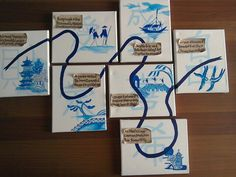 Blue willow story on canvas boards with haiku poems