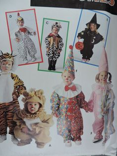 Chicken Lion Clown Cow Tiger Witch Children's Toddler Halloween Stage Play Costume Simplicity 0634 / 9116 Sewing Pattern Sz. 1 to 4 Sewing Patterns For Kids, Vintage Sewing Patterns, Toddler Halloween, Halloween Party, Halloween Patterns, Raggedy Ann And Andy, Stage Play, Simplicity Patterns, Cross Stitch Designs