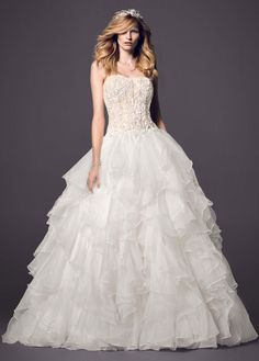 Strapless Ball Gown with Organza Ruffle Skirt - David's Bridal