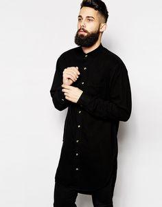 Reclaimed+Vintage+Super+Longline+Denim+Shirt+with+Grandad+Collar